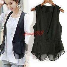 Fashion Womens Short Ladies Vest Tops Chiffon T-Shirt OL slim fit suit waistcoat