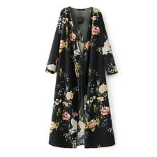 Vintage Flower Pattern Long Sleeve Bow Casual Straight Dress For Women