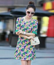 Flower Printed Casual Chiffon Fabric Vintage Knee Length Dress For Women