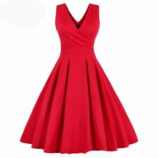 Women Summer Casual Party Pleated Vintage V Neck Knee-length Sleeveless Dress