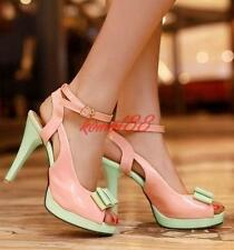 Candy Womens Patent Leather peep Toe Bowknot Platform High Heels Party Shoes Sz