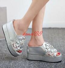 Womens Mesh Platform Wedge Heels Slippers Rhinestone open toe Sandals Shoes size