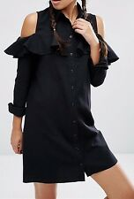 Fashion Turn Down Collar Flounced Long Sleeve Off Shoulder Tube Dress For Women