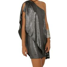 Women Evening Party One-shoulder Silver Color Plating Sleeveless Dress