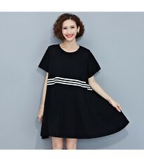 Women Summer Cotton Casual Tops Tees Black And White Striped Dress