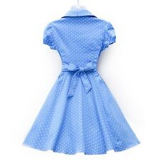 Women Summer Polka Dot Print V Neck Casual Short Sleeve A Line Dress