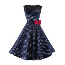 Women Summer Wear Blue Color Polka Dots Red Bow Sleeveless A-line Dress