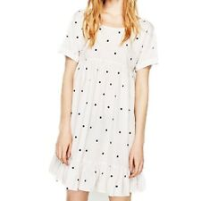 Women Polka Dot O Neck Casual Vintage Short Sleeve Straight Mini Dress