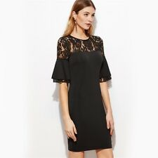 Women Fashion Black Color Sheer Lace Neck Ruffle Sleeve Dress