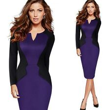 Women Winter Fashion Patchwork Casual Full Sleeve Small V-neck Pencil Dress