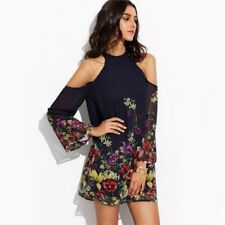 Women Flower Print Keyhole Round Neck Cold Shoulder Long Sleeve Cut Out Dress