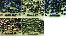 100pcs Black Czech Glass Round Faceted Fire Polished Beads Small Spacer 4mm