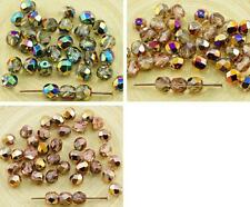 40pcs Crystal Metallic Half Czech Glass Round Faceted Fire Polished Beads 6mm