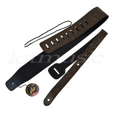 Guitar Strap Leather Embossed Adjustable For Acoustic Electric Guitar Bass Parts