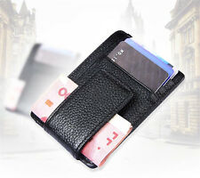 Men's Leather Money Clip ID Credit Card Case Holder Slim Wallet Front Pocket