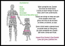 Walk Alongside Me Daddy 1st First Fathers Dad Poem Personalised Gifts Father Day