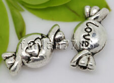 Hot 15/60/300pcs Tibetan Silver two-sided candy  Charms Spacer Beads 11x6mm F