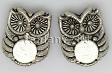 Hot 15/60/300pcs Tibetan Silver two-sided Owl Jewelry Charms Spacer Beads 10x8mm