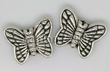 Hot 15/60/300pcs Tibetan Silver two-sided Butterfly Charms Spacer Beads 11x9mm F