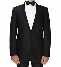 Black Patterned Semi Slim Fit Dinner Suit With Shawl Lapel