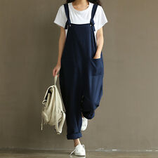 Womens Casual Strap Dungaree Jumpsuits Overalls Rong Trousers Harem Pants RS