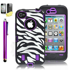 Shockproof Hard Zebra Cover Rugged Protective Case For Apple iPhone 4S 4 Purple