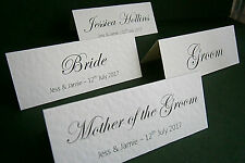 1-50 Personalised Wedding Place Name Cards - White or Ivory