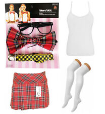 NAUGHTY SCHOOL GIRL NERD GEEK FANCY DRESS COSTUME NERD KIT , SKIRT, OTK SOCKS