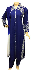 Indian Pakistani Embroidered Rayon Suit, Stitched Casual Salwar Kameez Shalwar