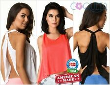 Coqueta Sport Backless Tank Top Halter Fashion Tunic Sport Shirt Knotted Sexy T