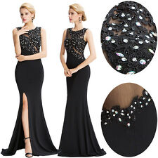 Bead Long Black Formal Wedding Evening Party Gown Prom Cocktail Bridesmaid Dress