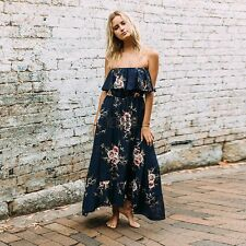 Women Sexy Off Shoulder Floral Print Ruffled Maxi Dress KECP01