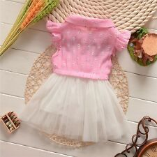 Baby Gir Pink White Color Bow Summer Lace Dress Dress Size 0-24 Months