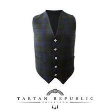 New Mens Wedding Tartan Republic Scottish Waistcoat In Black Watch Tartan