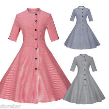 Retro Vintage 50s Swing Wiggle Flared 3/4 Sleeve Cocktail Evening Party Dress