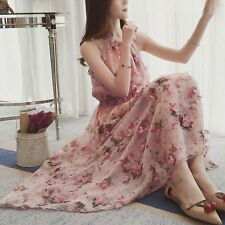 New Women Summer Elegant Fashion Sleeveless Off Shoulder Floral Chiffon Dress