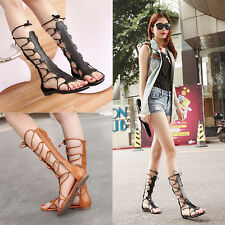 Women Fashion Knee High Gladiator Sandal Out Strappy Flat Sandal Shoes
