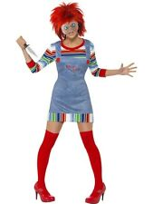 Adult Licensed Chucky Ladies Halloween Horror Fancy Dress Costume Party Outfit
