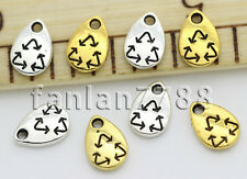 Hot 60/300pcs Tibet Silver two-sided Mini recoverable  Charms Pendant 10x7mm F