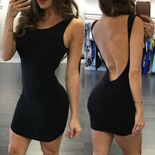 Women Sexy Backless Elegant Mini Sleeveless Open Back Night Club Party Dress  XP