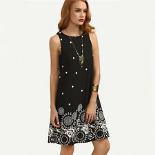 Vintage Black Polka Dot Print Straight O-neck Sleeveless Mini Women Dress