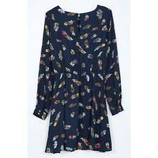 Women Colorful Print Summer Vintage Mini O Neck Long Sleeve Casual Dress