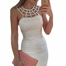 Women White Color Lace Fashion Hollow Out Sleeveless Sheath Party Dress