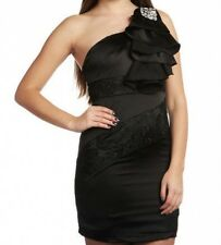BLACK SATIN & LACE EMBELLISHED DRESS BNWT 10 OR 12  NEW STOCK