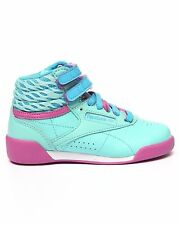 M46776 REEBOK FREESTYLE HI BLUE/PINK/WHITE SCHOOL GRADE YOUTH SHOES SNEAKERS B
