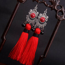 Miao silver Fringes tassel dangle earrings red Ethnic earrings jewelry Big star