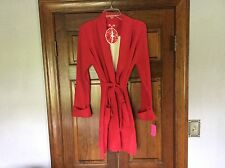 NWT Betsey Johnson Red Ivory BIG HEART Plush Sweater Robe With Pockets Valentine