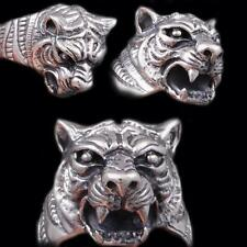 HUGE HEAVY TIGER LION KING PANTHER PREDATOR 925 STERLING SILVER MENS WOMENS RING