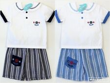 Baby Boys Summer White Top Blue Striped Shorts Sailor Outfit Set 3-6-9 Months