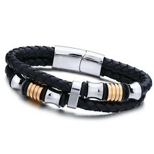 Men's Stainless Steel Leather Cuff  Wristband Bracelet Braided Gold Hoops Bangle